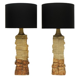 Pair of 1960s Ceramic Bernard Rooke Table Lamps