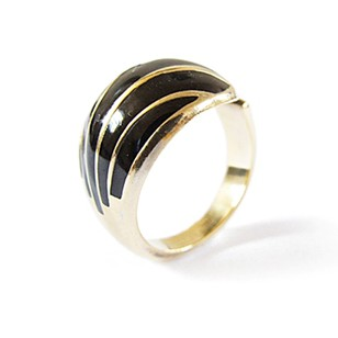 1960s Goldtone Silver David Andersen Ring