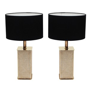 Pair of 1970s Brass and Cane Bergboms Table Lamps
