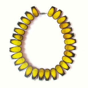 1960s Yellow Ceramic Danish Bronsted Necklace