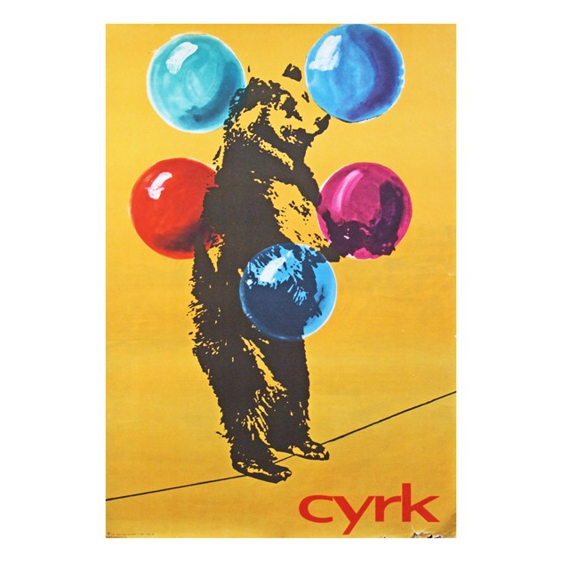 1970's Cyrk Polish Circus Tightrope Bear Poster-fears-and-kahn-cyrk-bear-1_main.jpg