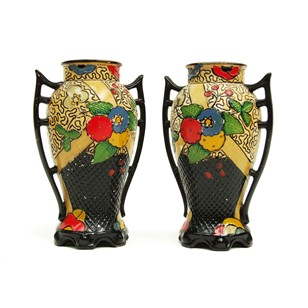 Pair of 1920s Hand Painted Embosa Vases