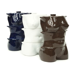 1970s Sculptural Flesh Pots Casserole Set