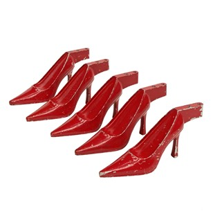 Set of  5 x 1950s Red Metal Stiletto Sculptures