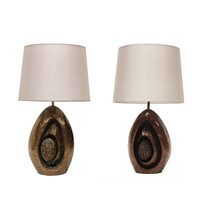 Pair of 1960s Sculptural Bronzed Resin Table Lamps