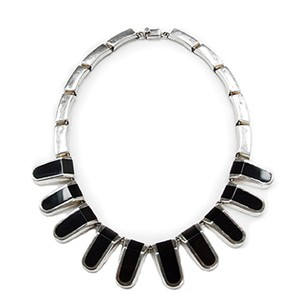 1960s Silver & Onyx Holloware Necklace