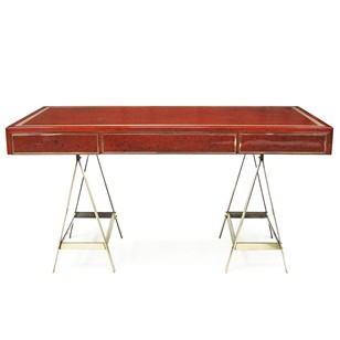 1970's Lacquersmith Desk with Brass Trestle Legs