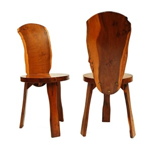 Pair of 1950s Yew Wood Chairs By Reynolds