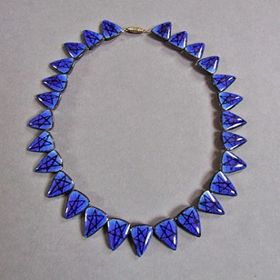 1950s Ceramic Lund Necklace (Blue)