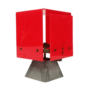 1960s Modernist Red Acrylic Brass Table Lamp