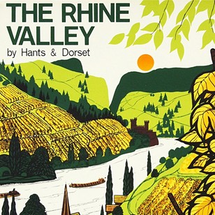 1960s Rhine Valley Bus Travel Poster