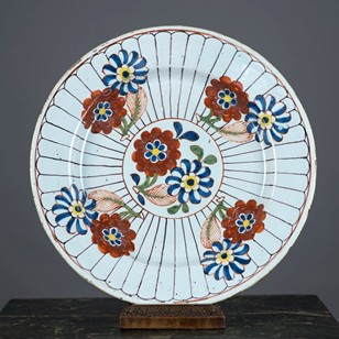 English Polychrome Delft Plate, C1760's