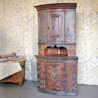 Swedish Painted Corner Cupboard. Dated 1819.