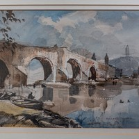 "Roland Hilder. watercolour.  "" Sterling Bridge ""."