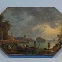 Late 17th early 18thc Italian Harbour Scene
