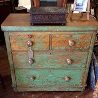 19thc Green Painted Chest of Drawers.