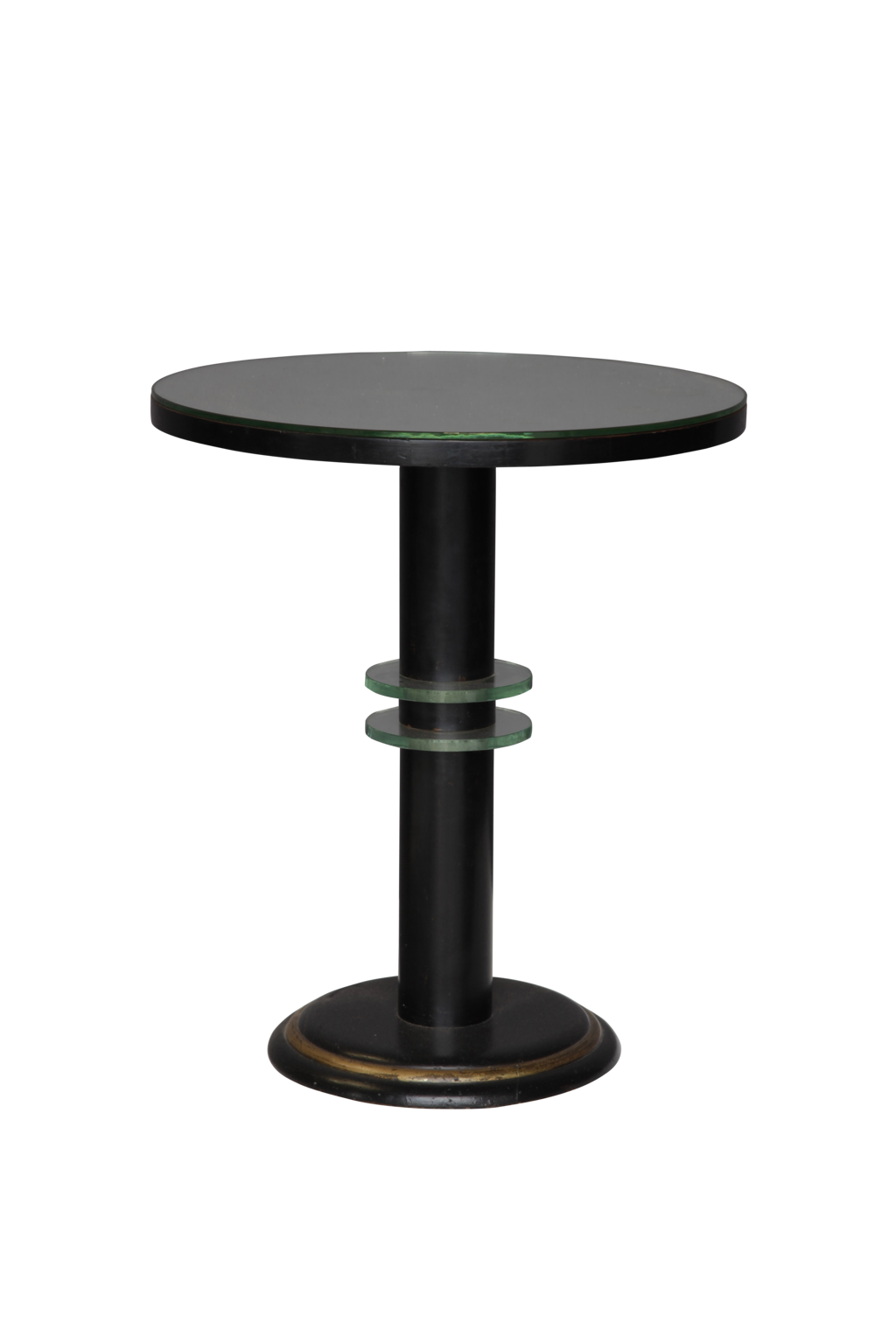 mirrored art deco ebonised round table decorative collective. Black Bedroom Furniture Sets. Home Design Ideas