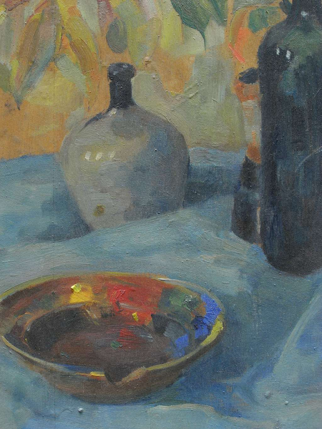 oil on board still life of wine bottle and jug decorative collective. Black Bedroom Furniture Sets. Home Design Ideas