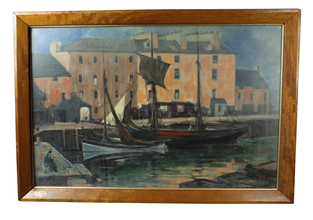 oil on board of harbour scene decorative collective. Black Bedroom Furniture Sets. Home Design Ideas