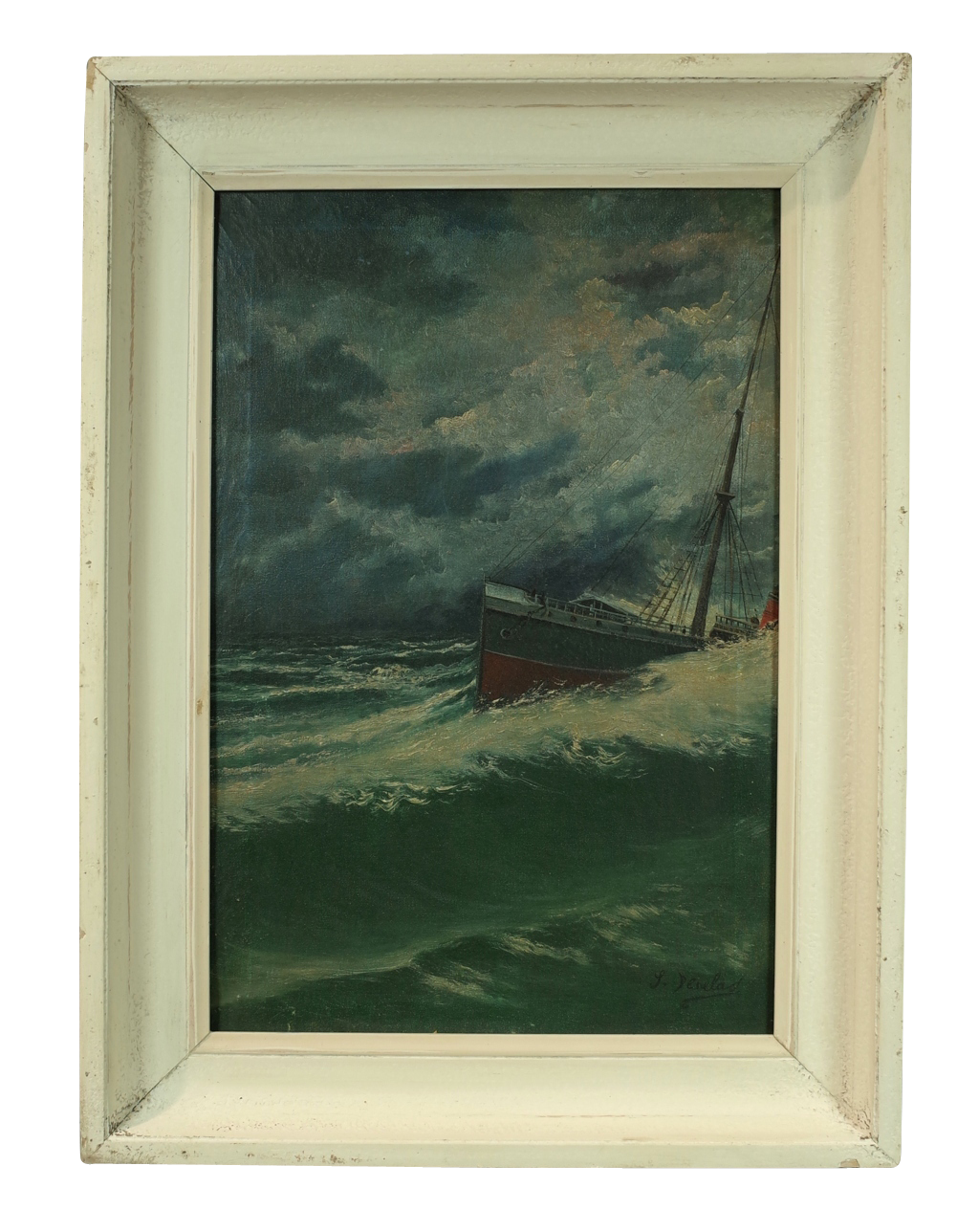 oil on canvas of ship in a storm decorative collective. Black Bedroom Furniture Sets. Home Design Ideas