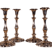 Four Plated Candlesticks