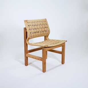 An Oregan pine and paper cord side chair