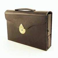 Antique leather stationery attaché case