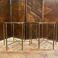 Pair of  faux bamboo brass tables