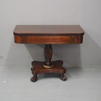 Regency Rosewood and Brass Inlaid Foldover Table