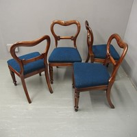 Set of 4 William IV Carved Mahogany Dining Chairs