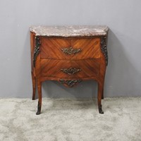 French Kingwood and Pink Marble Top Commode