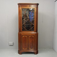 Georgian Style Inlaid Mahogany Corner Cupboard