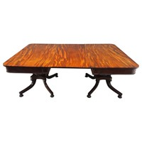 Antique Regency Mahogany Twin Pillar Dining Table