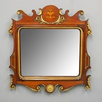 Georgian Style Mahogany Inlaid & Gilt Wall Mirror