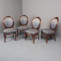 Antique Set of 4 Carved Rosewood Side Chairs