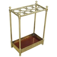 Victorian Cast Brass and Mahogany Stick Stand