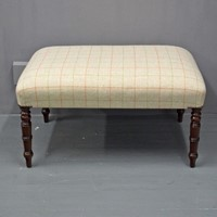 Victorian Mahogany and Tartan Stool