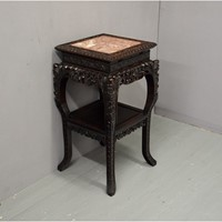 Chinese Carved Hardwood and Marble Plant Stand