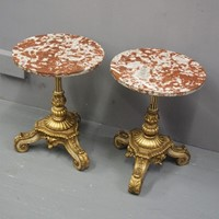 Pair of Marble Top and Gilded Occasional Tables