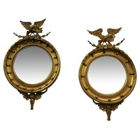 Pair of Regency Style Gilded Convex Mirrors