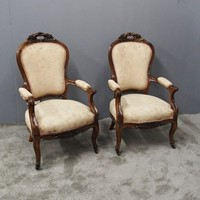 Pair of French Rosewood Armchairs