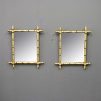 Pair of Faux Bamboo Wall Mirrors