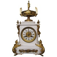 White Marble Mantel Clock by James Ritchie & Son