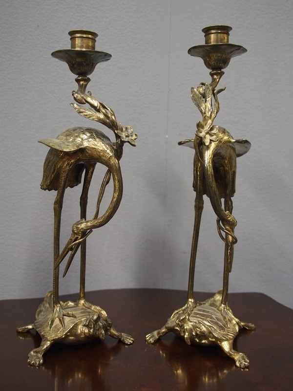 Pair of Chinese Gilded Brass Crane Candlesticks-georgian-antiques-2-candlesticks-main-637298173554285386.JPG