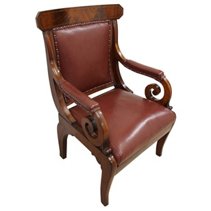 William IV Mahogany and Inlaid Library Chair