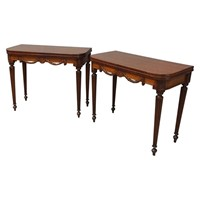 Pair of William IV Mahogany Foldover Card Tables