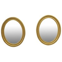 Pair of Gilded Adams Style Oval Mirrors