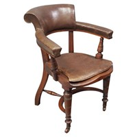 William IV Mahogany and Brown Leather Office Chair