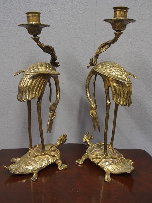 Pair of Chinese Gilded Brass Crane Candlesticks-georgian-antiques-3-candlesticks-main-637298173569442176.JPG