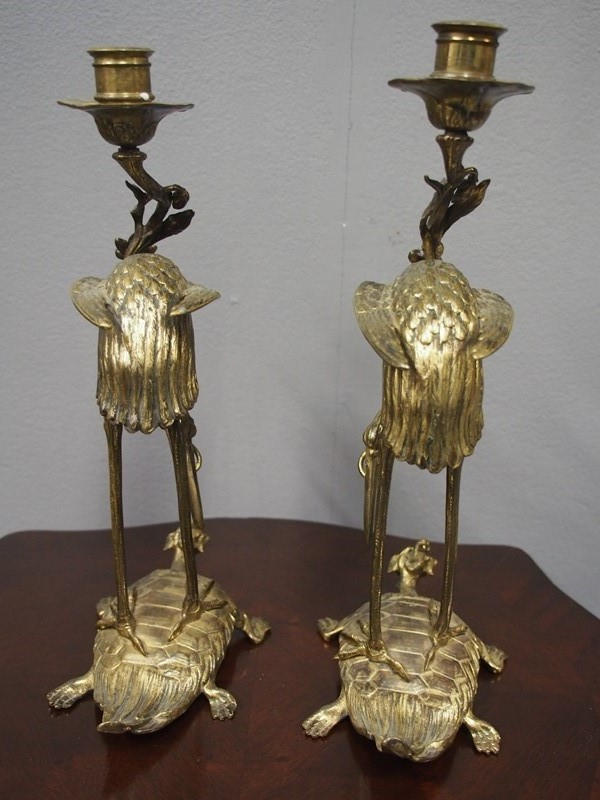 Pair of Chinese Gilded Brass Crane Candlesticks-georgian-antiques-4-candlesticks-main-637298173584910178.JPG